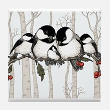 Chickadee Family Tile Coaster
