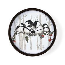 Chickadee Family Wall Clock