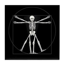 Vitruvian Man Skeleton Tile Coaster