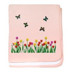 Tulip Flowers and Butterflies baby blanket
