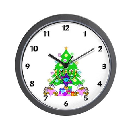 Christmas and Hanukkah Wall Clock