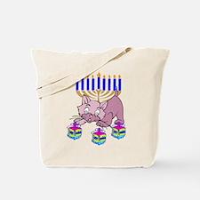 Hanukkah Dreidel Cat Tote Bag