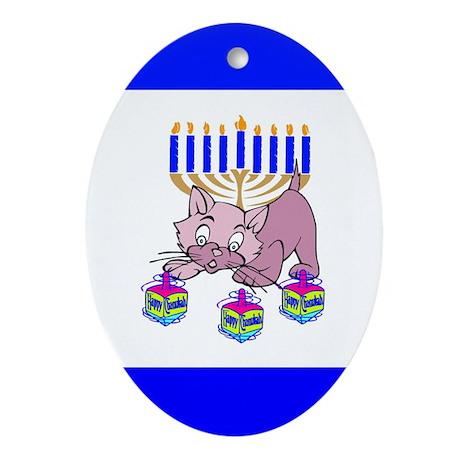 Hanukkah Dreidel Cat Ornament (Oval)