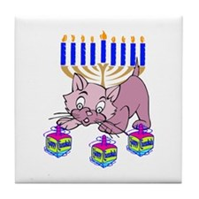 Hanukkah Dreidel Cat Tile Coaster