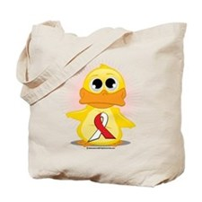 Red & White Ribbon Duck Tote Bag