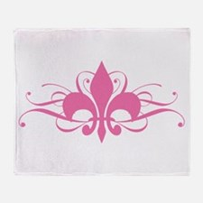 Pink Fleur De Lis With Swirls Throw Blanket