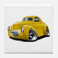 1941 Willys Yellow Car Tile Coaster