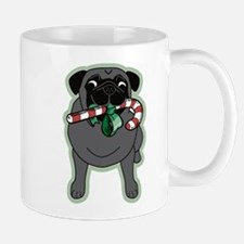 Candy Cane Pug in Black Mug
