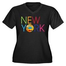 Funny New york taxi cab Women's Plus Size V-Neck Dark T-Shirt