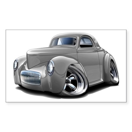 1941 Willys Silver Car Sticker (Rectangle)
