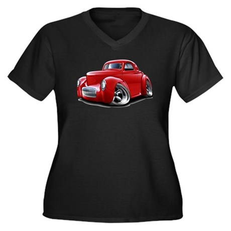 1941 Willys Red Car Women's Plus Size V-Neck Dark