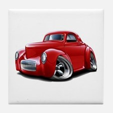 1941 Willys Red Car Tile Coaster