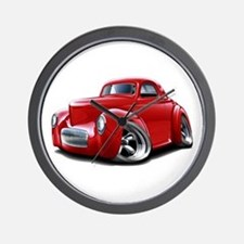 1941 Willys Red Car Wall Clock