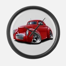 1941 Willys Red Car Large Wall Clock