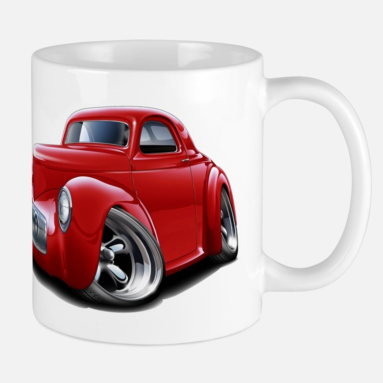 1941 Willys Red Car Mug