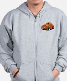 1941 Willys Orange Car Zip Hoodie