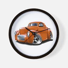 1941 Willys Orange Car Wall Clock