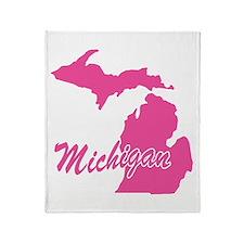 Pink Michigan Throw Blanket