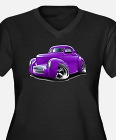 1941 Willys Purple Car Women's Plus Size V-Neck Da