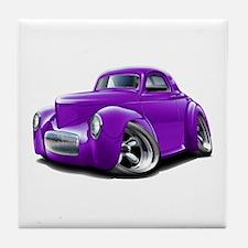 1941 Willys Purple Car Tile Coaster