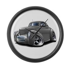 1941 Willys Grey Car Large Wall Clock