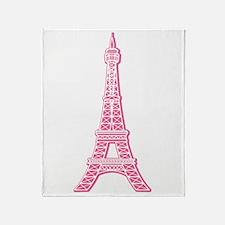 Pink Eiffel Tower Throw Blanket