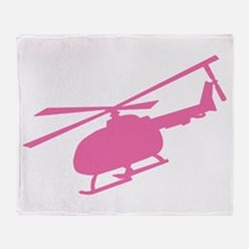 Pink Helicopter Throw Blanket