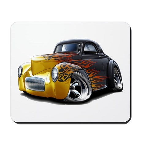 1941 Willys Black Flames Mousepad