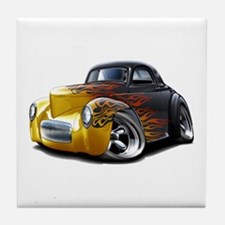 1941 Willys Black Flames Tile Coaster