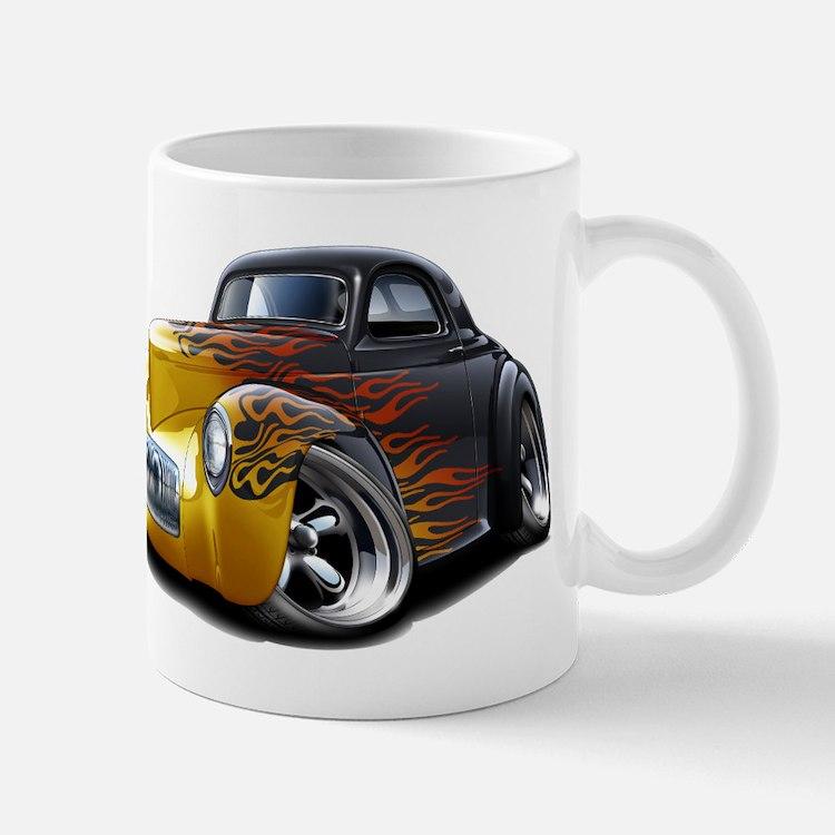 1941 Willys Black Flames Mug