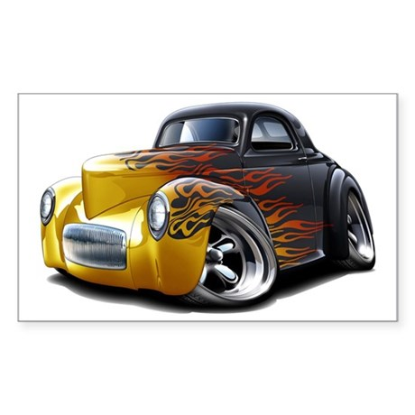 1941 Willys Black Flames Sticker (Rectangle)