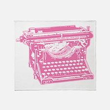 Pink Typewriter Throw Blanket