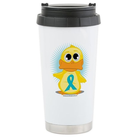 Teal Ribbon Duck Stainless Steel Travel Mug