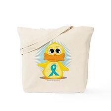 Teal Ribbon Duck Tote Bag