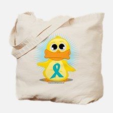 Teal Ribbon Duck Tote Bag