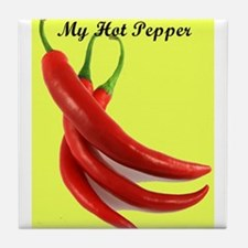 Cute Hot peppers Tile Coaster