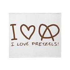 I Love Pretzels Throw Blanket