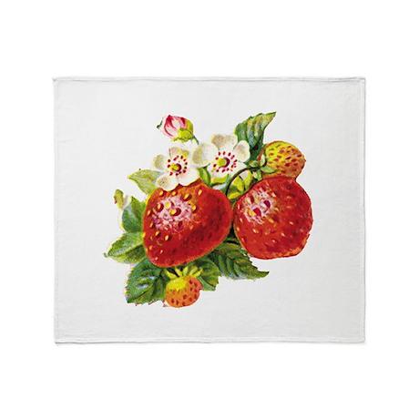 Retro Strawberry Throw Blanket