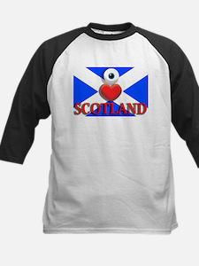 I Love Scotland Kids Baseball Jersey