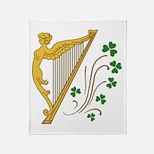 Lady Harp And Shamrocks Throw Blanket
