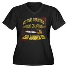 Chainsaw Juggling Women's Plus Size V-Neck Dark T-