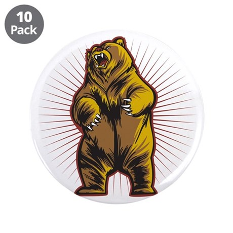 """Angry Bear 3.5"""" Button (10 pack)"""