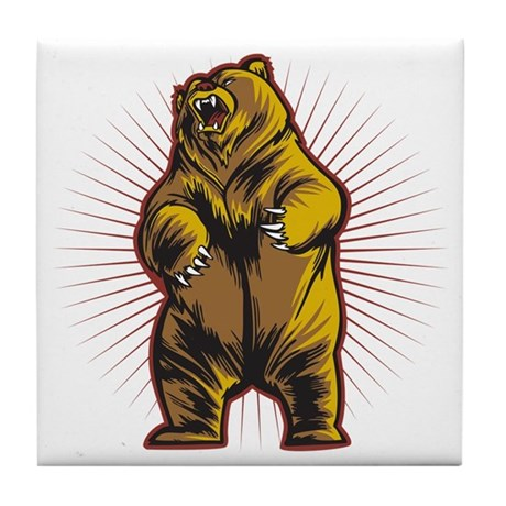 Angry Bear Tile Coaster