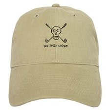 The Jolly Golfer Skeleton and text Baseball Cap, skull an