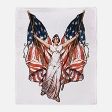 Vintage American Flag Art Throw Blanket