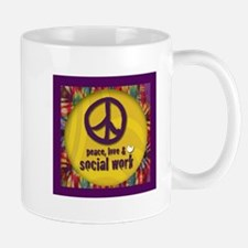 Peace, Love, & Social Work Mug