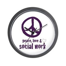 Peace, Love, & Social Work Wall Clock