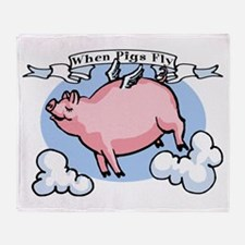 When Pigs Fly Throw Blanket