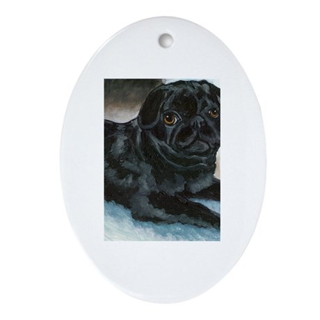 Pug Puppy Head Up Oval Ornament