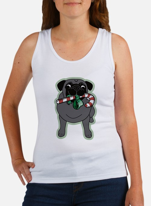 Candy Cane Black Front/Fawn Back Women's Tank Top